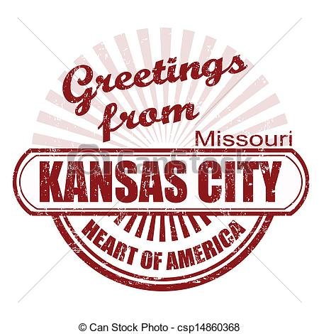 Clip Art Vector of Greetings from Kansas City stamp.