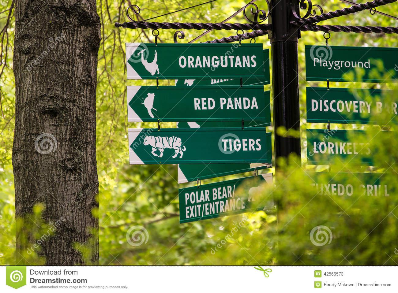 Kansas City Zoo Signs Stock Photo.