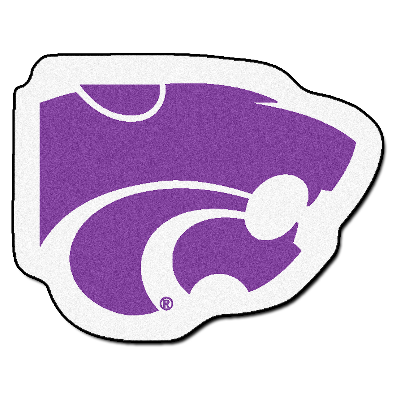 NCAA Kansas State University Wildcats Mascot Novelty Logo Shaped Area Rug.