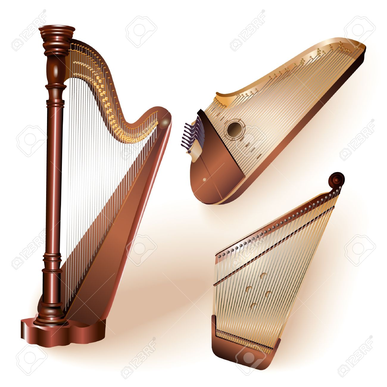 Collection Of Three Traditional String Plucked Instruments.