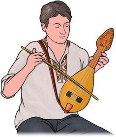 楽器のイラスト フィンランドの弦楽器:カンテレの演奏 。ヨーロッパの.