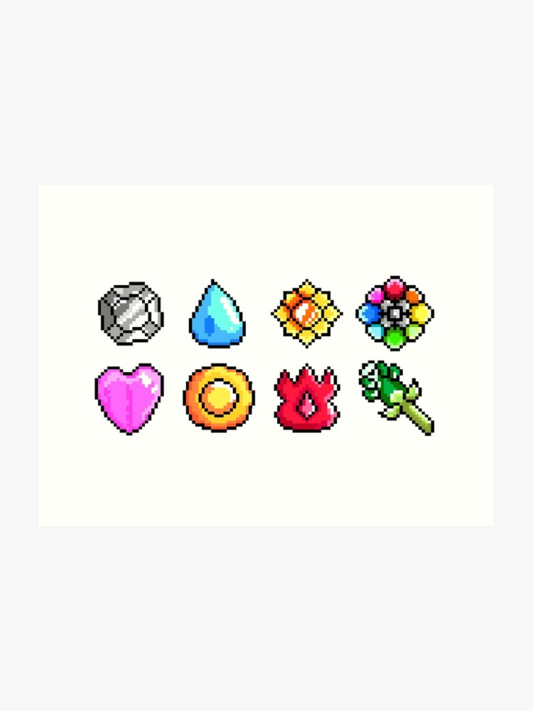 Pokemon Kanto Badges: Pixel Art Badge Set.