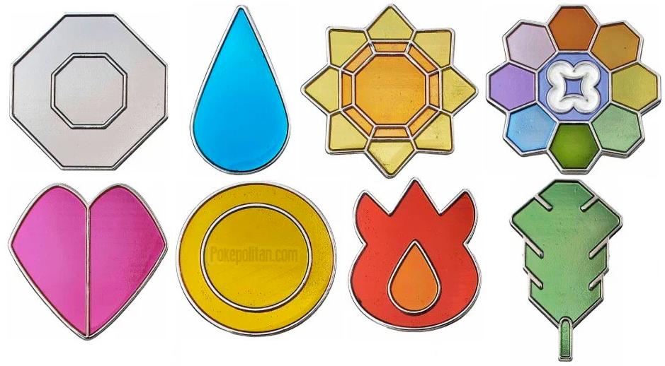 Bandai Kanto Gym Badges.