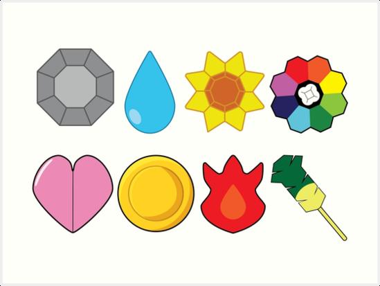 'Kanto Gym Badges' Art Print by snidget.