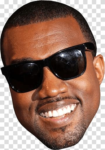 Smiling man wearing sunglasses, Kanye West Smiling Face transparent.