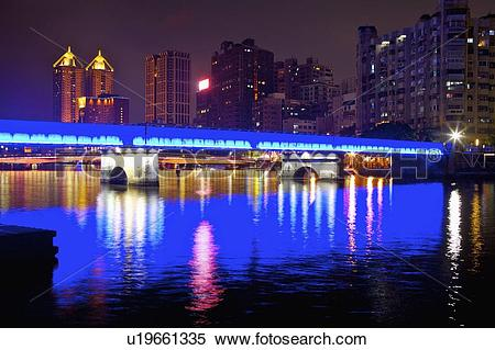 Stock Image of Taiwan, Kaohsiung, Love River u19661335.