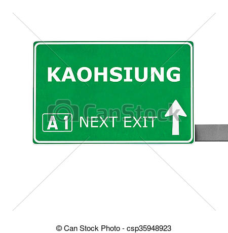 Clip Art of KAOHSIUNG road sign isolated on white.