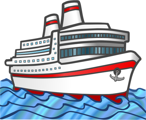 Vector graphics of color large cruise ship.