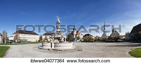 """Stock Photo of """"Marienbrunnen fountain, Kapellplatz square."""