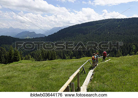 """Stock Images of """"Hikers, father, 45, daughters, 11, son, 13."""