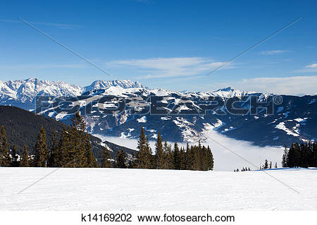 Stock Photo of winter with ski slopes of kaprun resort k14169202.