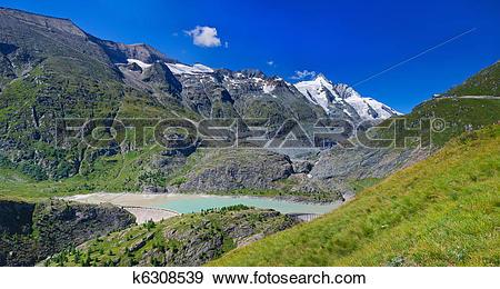 Stock Photograph of Panorama Dam Wall Of Kaprun Power Plant.