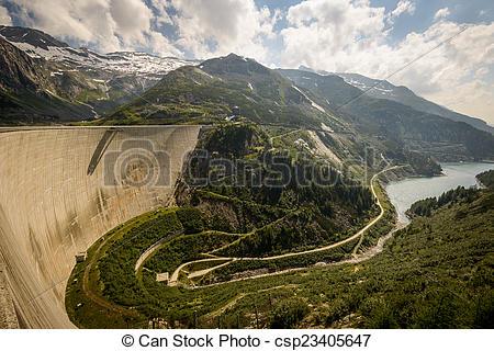 Stock Photo of Kaprun dam wall.