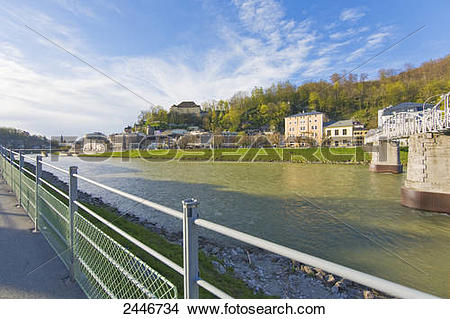 Stock Photo of Bridge across river, Salzach River, Mozartsteg.