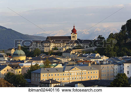 "Stock Images of ""View of Nonnberg monastery and the Cajetan church."