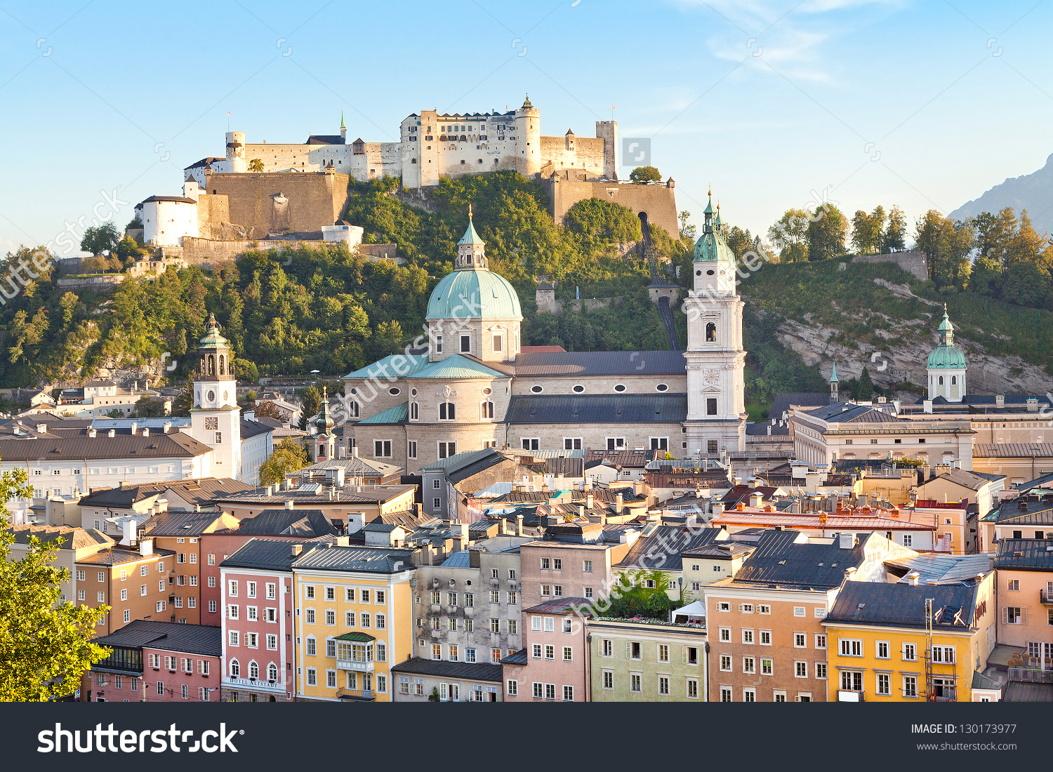 Beautiful View Salzburg Skyline River Salzach Stock Photo.