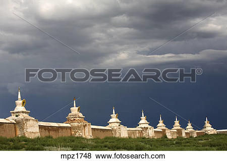 Pictures of The walls of Erdene Zuu monastery with its 108 stupas.
