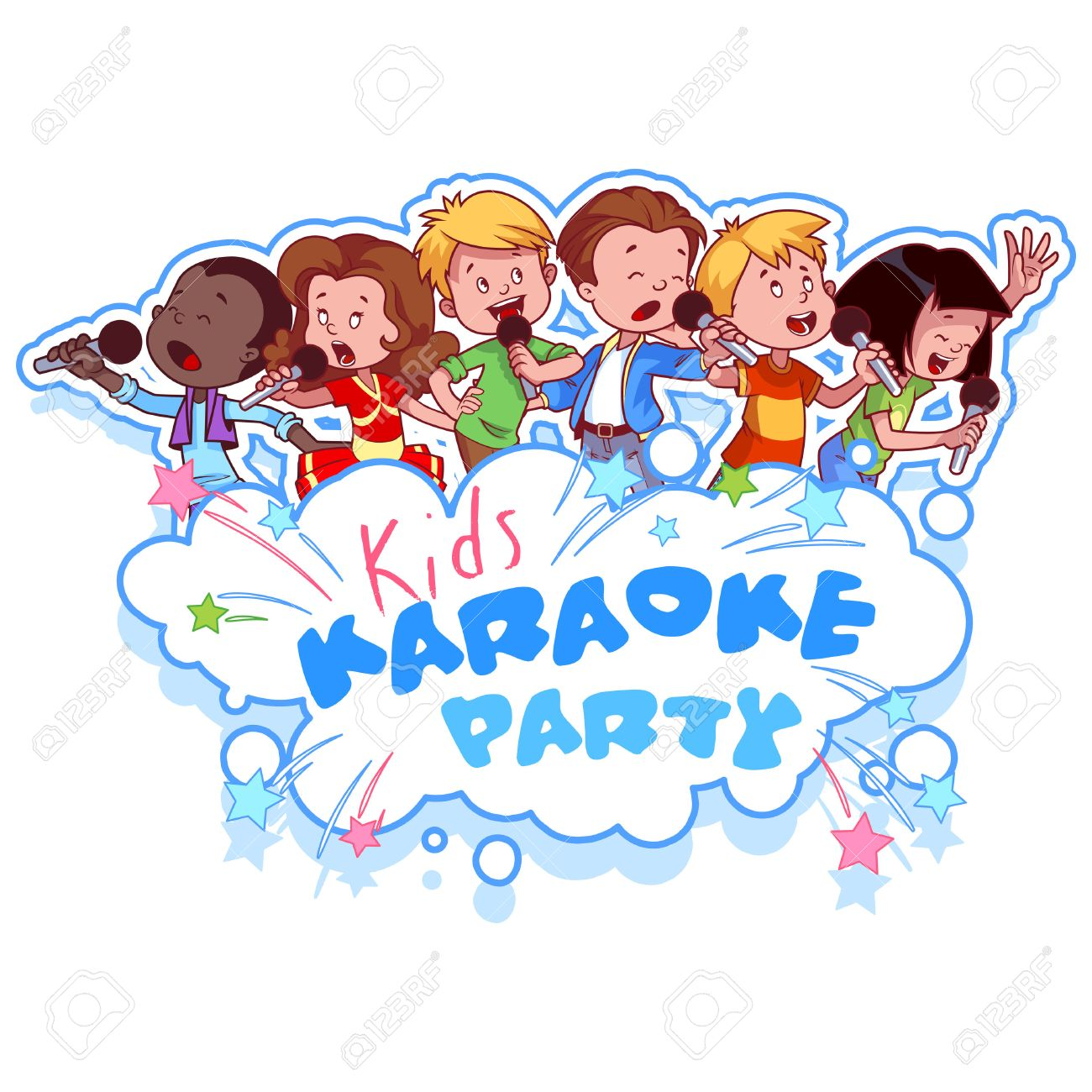 Cartoon children sing with a microphone. Logo template for children's...