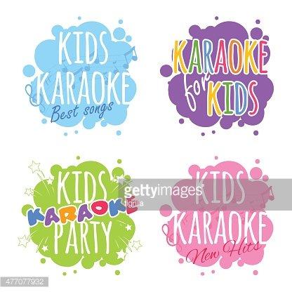 Kids karaoke logo Clipart Image.