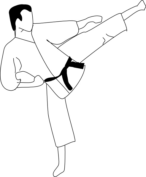 Karate Kick clip art Free vector in Open office drawing svg.