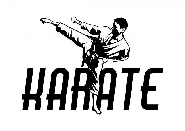 Martial art karate logo. sport symbol illustration Premium.