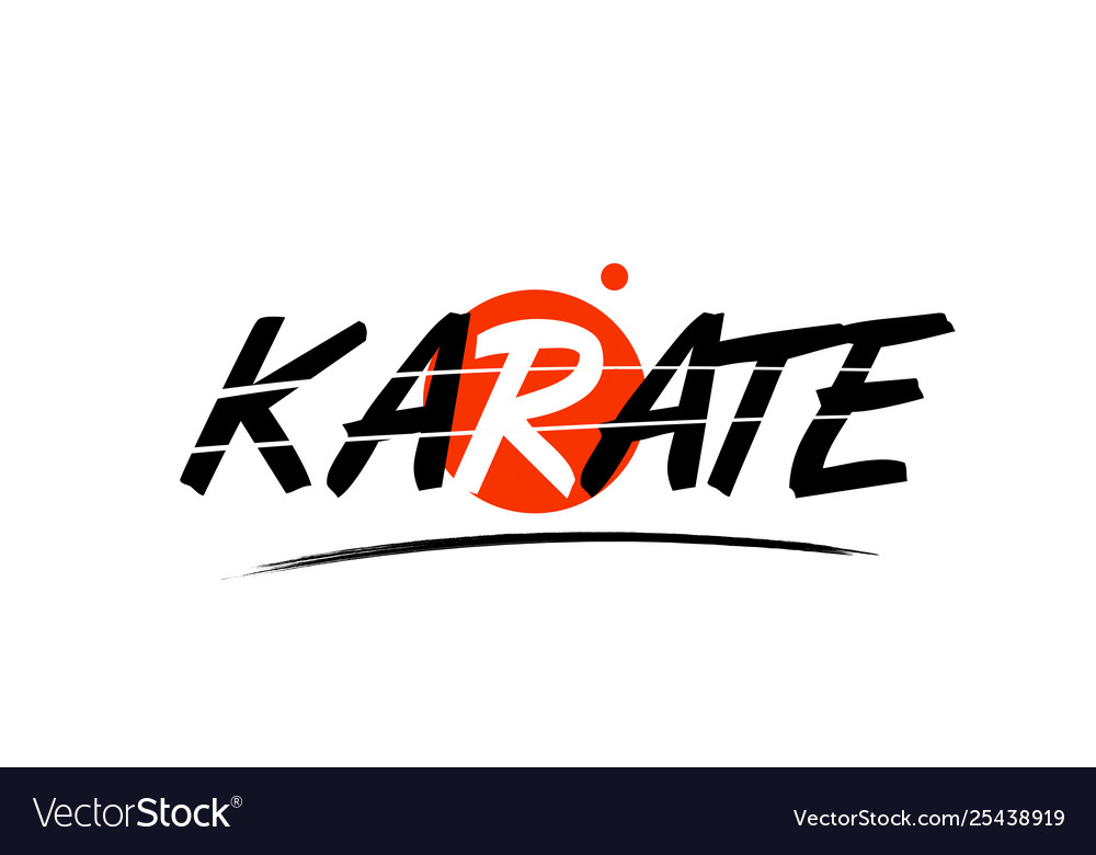 Karate word text logo icon with red circle design.