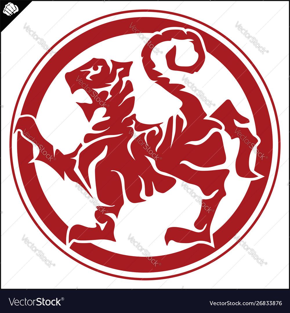 Martial art colored simbol design karate emblem.