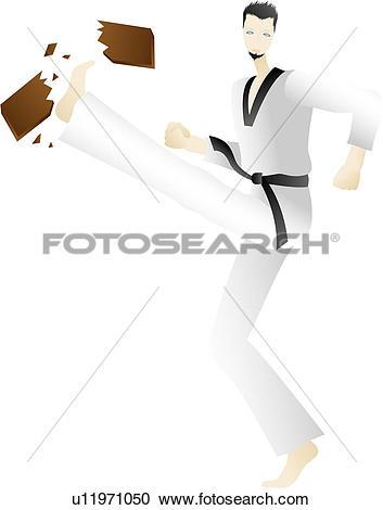 Stock Illustrations of Karate Man Breaks Board u11971050.