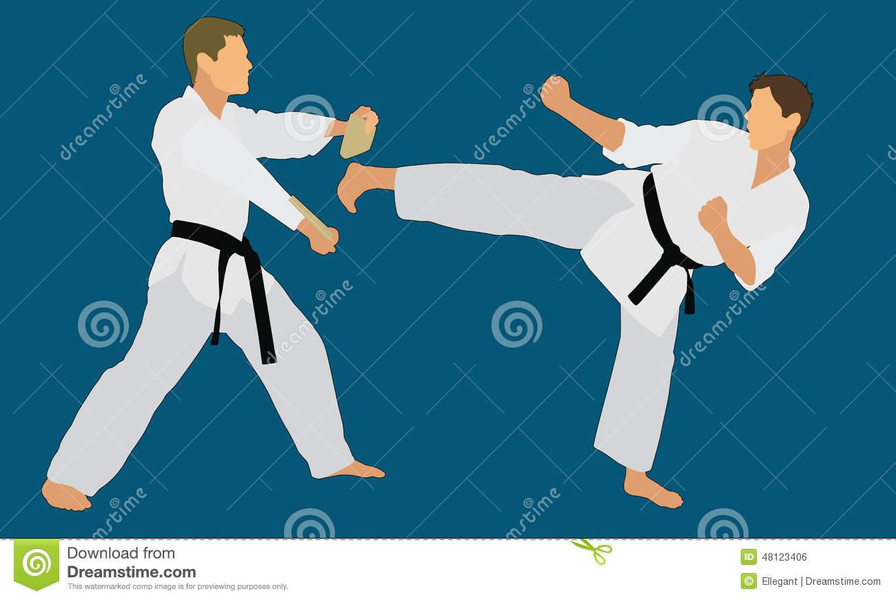 Karate Man Breaking Boards Clipart.