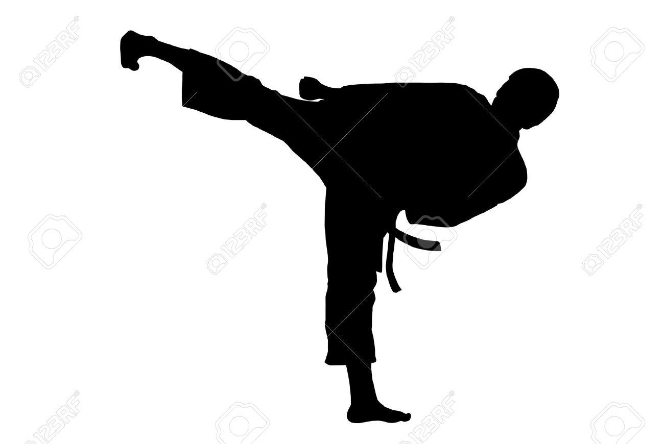 Black Silhouette Of Karate Man Kicking High Stock Photo, Picture.