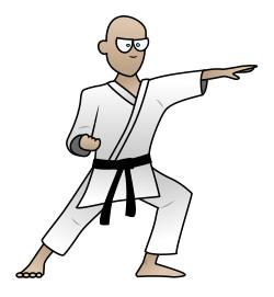 Drawing a cartoon karate man.