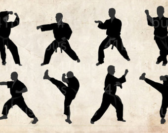 Karate silhouettes.