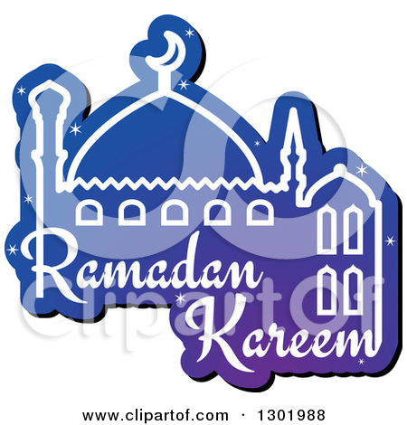 Clipart of a Blue Mosque with Shining Stars and Ramadan Kareem for.