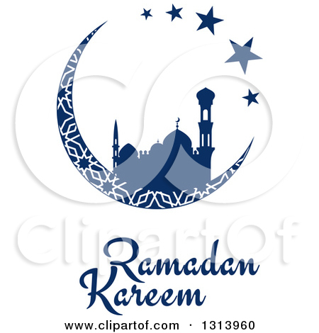 Clipart of Navy Blue Ramadan Kareem Lanterns.