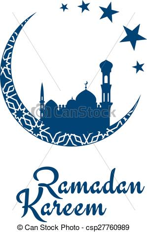 Clip Art Vector of Ramadan Kareem greeting card with arabic.