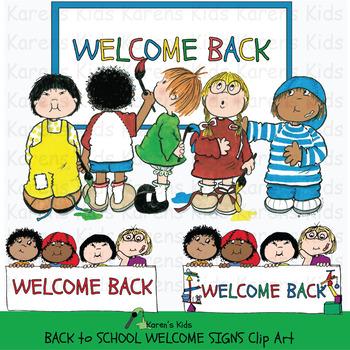Clip Art BACK TO SCHOOL WELCOME SIGNS (Karen's Kids Clip Art).