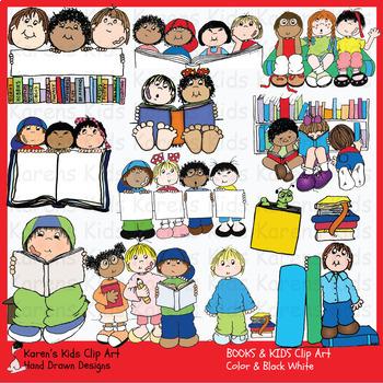 Clip Art BOOKS and READING (Karen's Kids Clip Art).