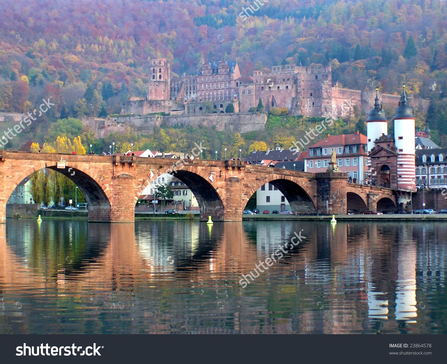 Karltheodor Bridge River Neckar Heidelberg Castle Stock Photo.