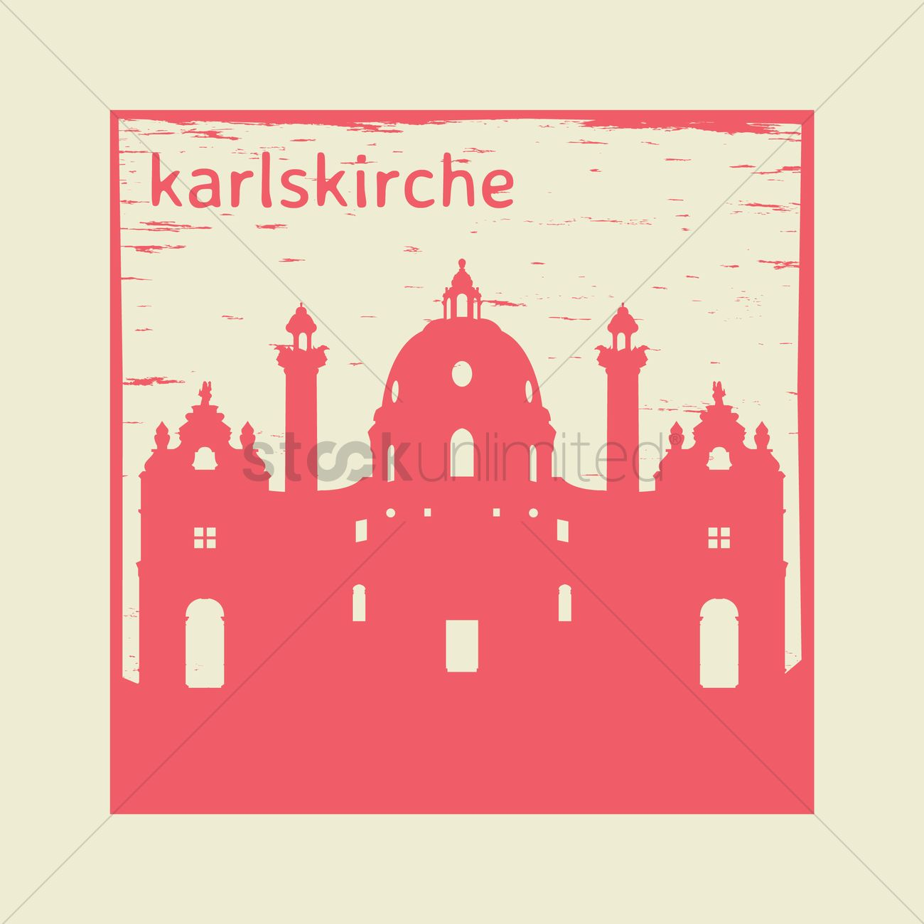 Karlskirche rubber stamp Vector Image.