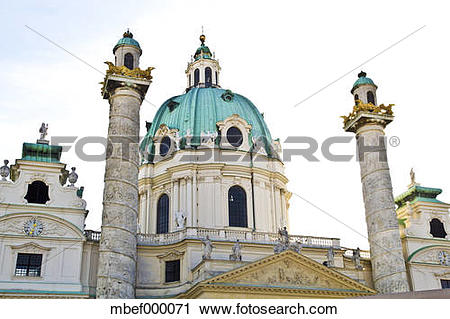 Stock Photography of Austria, Vienna, View of karlskirche at.