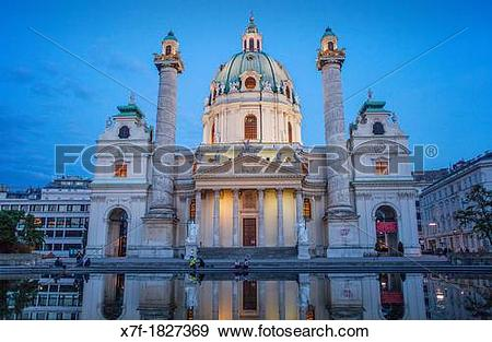 Stock Photograph of St Charles Church or Karlskirche,Vienna.