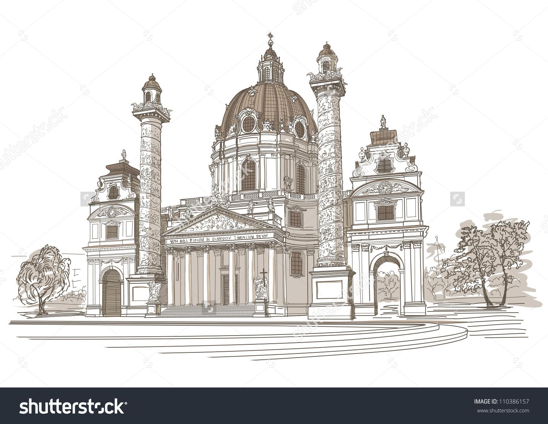 Vector Drawing Karlskirche Vienna Austria Stock Vector 110386157.