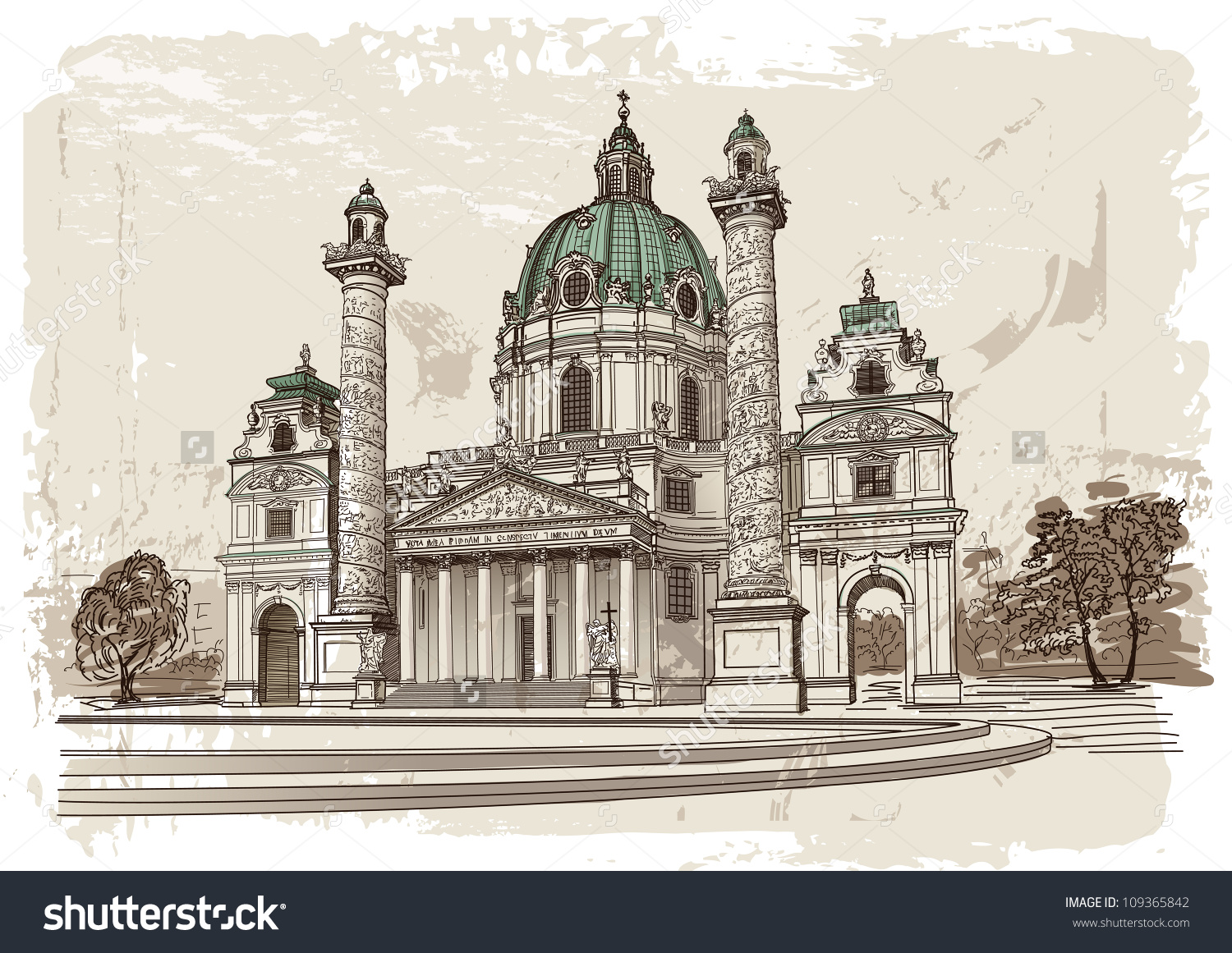 Vector Drawing Of Karlskirche In Vienna, Austria.