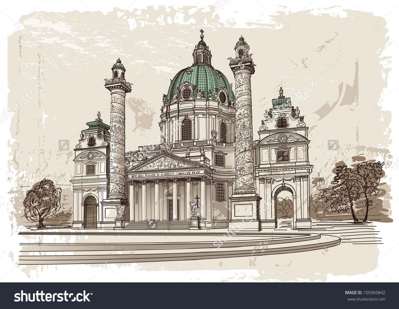 Vector Drawing Of Karlskirche In Vienna, Austria.