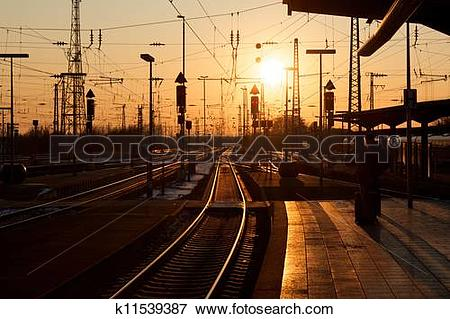 Picture of Winter sunset over Karlsruhe railway station with.
