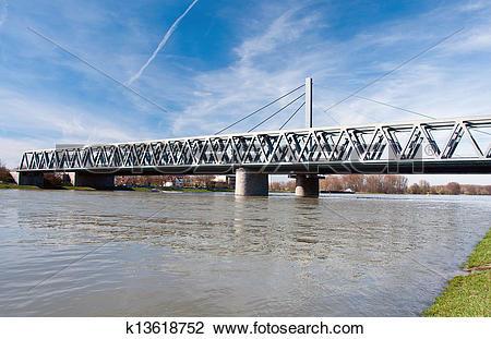 Stock Photo of Rhine bridge in Karlsruhe, Germany k13618752.