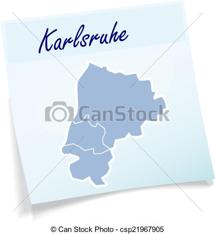Vector Clipart of Map of Karlsruhe as sticky note in blue.