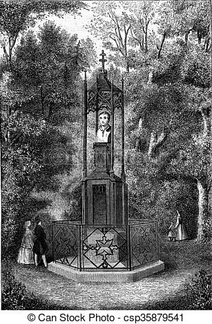 Drawing of Hebel monument to the castle garden in Karlsruhe.