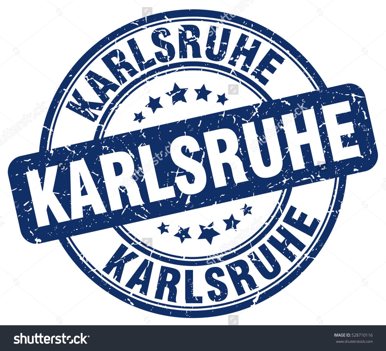 Karlsruhe Stamp Blue Round Grunge Vintage Stock Vector 528710116.