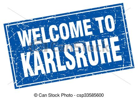 Vector Clipart of Karlsruhe blue square grunge welcome to stamp.